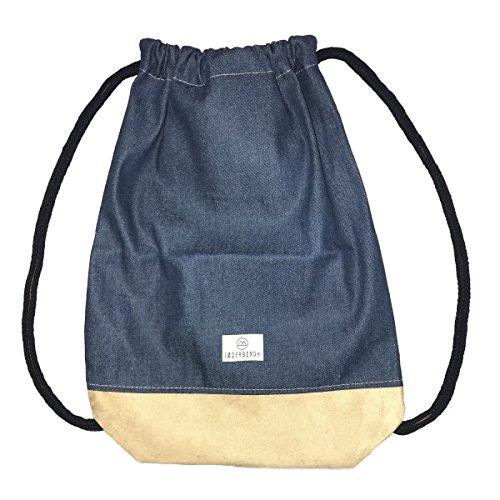 SODERBERGH Jeans Turnbeutel mit Innentasche, Sportbeutel Hipster Gym Bag Rucksack Gymsack für Damen, Herren und Kinder (Blau)