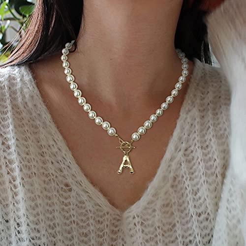 Kette, Damen Halskette mit Buchstaben Anhänger, Damen Perlen Ketten Kurze Runde Imitation Perle Halskette Hochzeit Perlenkette für Weiß, Damen Geschenk für Frau Frauen MaMa Freundin Halskette