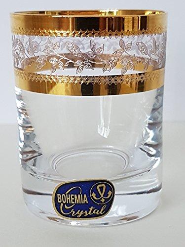 Bohemia Schnapsgläser, Likörgläser, Kristall Gläser,6 x 60 ml, Barline (Gold)