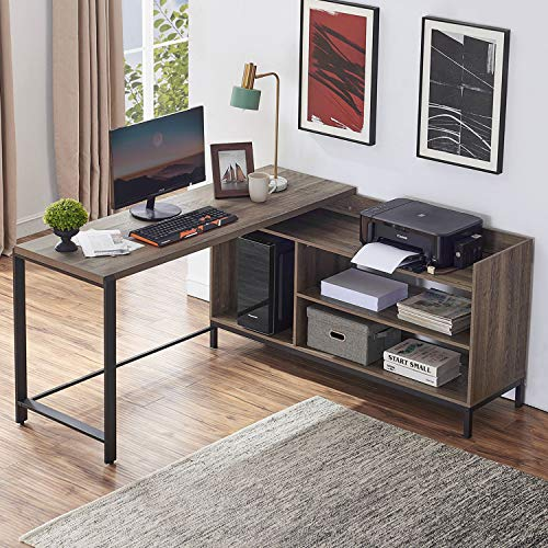 Rustic Industrial L Shaped Desk, 59 Inch Wood and Metal Study Corner Desk, Office Writing Workstation with Shelves and File Cabinet for Home Office