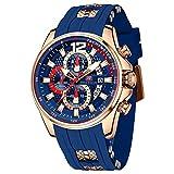 Mini Focus Relojes para hombre Relojes deportivos de cuarzo a prueba de agua Correa de silicona (oro azul)