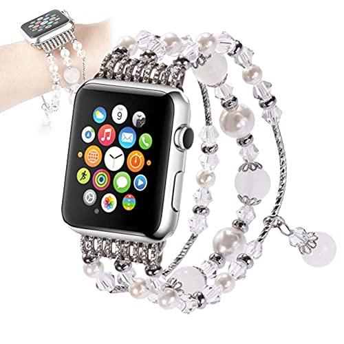 YONGCHY Apple Watch Series Correa 44mm 42mm Diamante Mujeres Reemplazo Banda Joyería Pulsera Pulsera para iWatch Series 6/5/4/3/2/1,B,42/44mm
