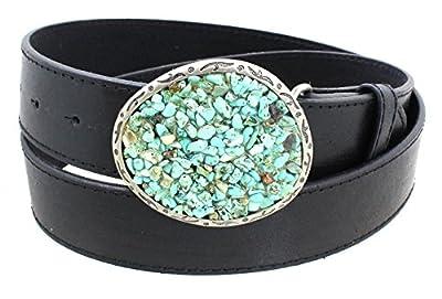 Women's Turquoise Pebble Belt Buckle Aged Finish Genuine Leather Belt - Black S