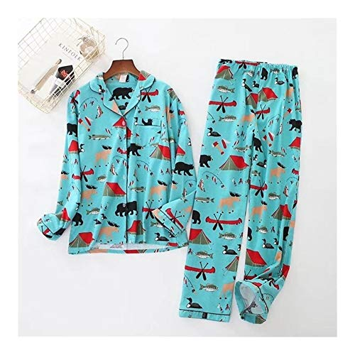 YIWU 100% Baumwolle gebürstete Männer Pyjamasanzug, Herbst Lässige Mode Tier...