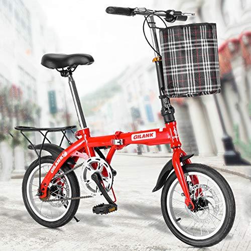 XM&LZ Pendler Faltrad Mit Heckrack,Ultra-licht Single Speed Scheibenbremse Klappräder,Kohlenstoffstahl Faltfahrrad Männer Frauen A 14inch