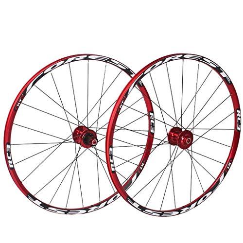 Ruedas Delanteras traseras de Bicicleta para Bicicleta de montaña de 26'27,5', Juego de Ruedas de Bicicleta MTB, 7 rodamientos, Freno de Disco de Tambor de aleación de 24 Horas, 8 9 10, Rueda de Bici