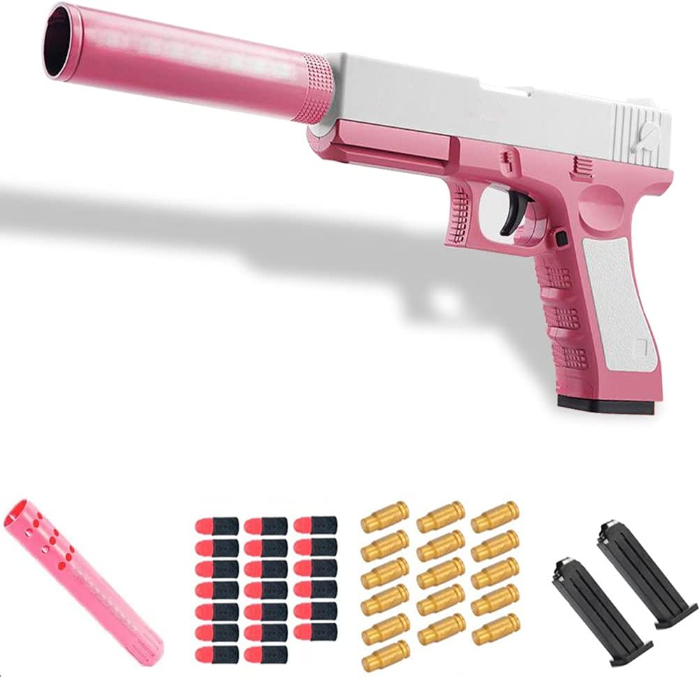 VNMG Glock & M1911 Shell Ejection Soft Bullet Toy Gun, Rubber Bullet Pistol 1:1 Real Dimensions,The Best Gift for Children, Fun Outdoor Game, Give Away More Toy Gun Accessories