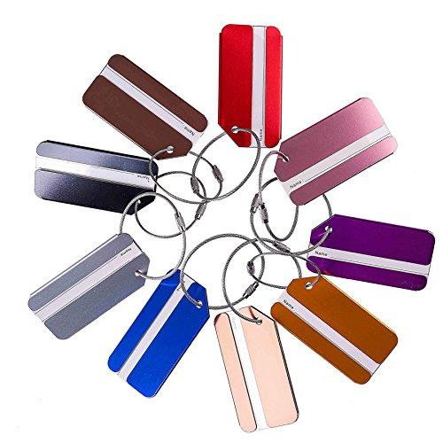 Etiquetas de Equipaje,Maleta Etiquetas Multicolor de Aluminio con Llavero y Cables de bBoqueo Mochila Maleta de Equipaje 9pack