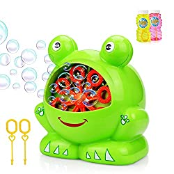 2018 NEW DESIGN OF FROG SHAPE - Fun, bright frog shape will delight kids of all ages as they watch loads of exciting bubbles pour out of its mouth in a continuous stream It can produce more than 500 colorful bubble madness per minute. Create whirlpoo...
