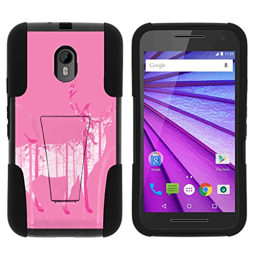 TurtleArmor | Compatible with Motorola Moto G 3rd Gen Case (2015) [Gel Max] Hybrid Dual Layer Case Impact Shock Silicone Cover Hard Kickstand Shell Animal - Pink Deer Forest