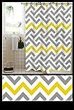 TIB® PVC Waterproof 6 ft Shower Curtain (Tri-Black-Yellow)