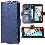 Compatible with MotoG4 / Moto G4 Plus Wallet Case Wrist Strap Lanyard Flip Cover Card Holder Stand Cell Phone Cases for Motorola G 4th Gen Generation G 4 4plus G4plus 4G G4+ Women Men Dark Blue