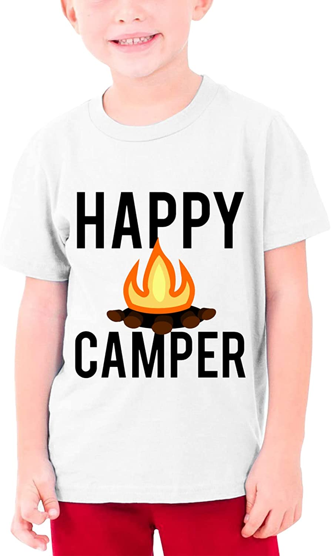 Campfire Happy Camper Boys Girls Tshirts Short Sleeve Cotton T-Shirt Youth Tees Tops