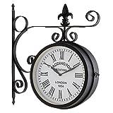 blumfeldt Paddington - Horloge Murale, Style Pendule de Gare, rétro pour intérieur et extérieur, Cadran des 2 côtés, résiste aux intempéries, éléments décoratifs métalliques, Noir