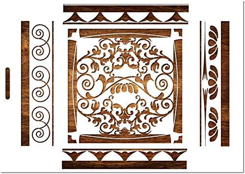 Boutique d'isacrea Schablone aus Kunststoff Mylar Format A4 (21 x 29,7 cm): Barock-Motiv für Wandbordüre