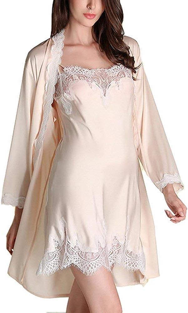 Damen Soft Satin Schlaf Kleid Satin Pyjama Nachtwäsche lang Robe Bademantel P0I7