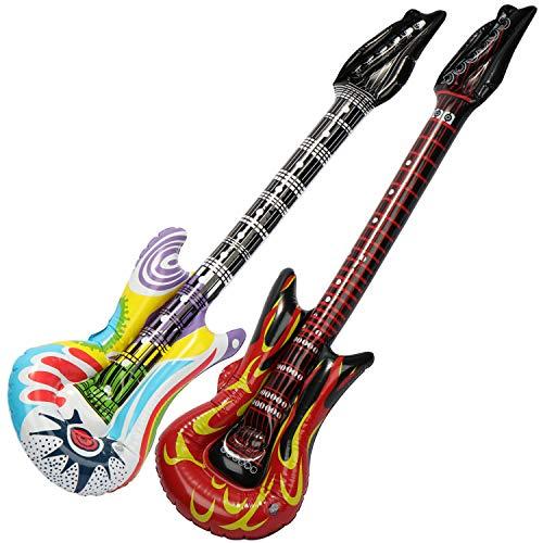 com-four® 2X aufblasbare Gitarren im Rock-Look als witziges Accessoire - Luftgitarre perfekt zu Fasching, Karneval oder Halloween - Größe: ca.1 Meter (Luftgitarre - Rock + Bunt)