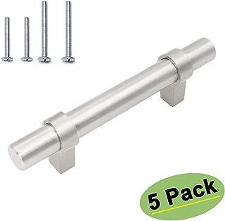 homdiy 3 in Cabinet Handles - 5 Pack Cabinet Hardware Brushed Nickel Drawer Pulls Modern Cabinet Pulls for Dresser Drawers HDT16SN