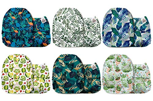 Mama Koala One Size Baby Washable Reusable Pocket Cloth Diapers, 6 Pack Nappies with 6 One Size Microfiber Inserts (Scented Foliage)
