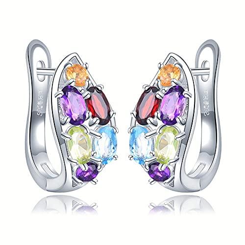XAOQW Coloridos Pendientes de aro de Piedras Preciosas Naturales 925 Amatista de Plata esterlina Granate Peridot Citrine joyería Fina para el Regalo de Las Mujeres