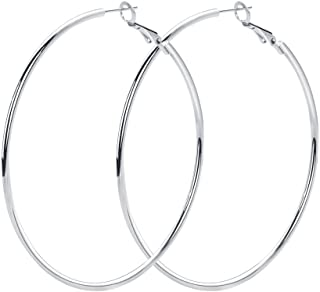 Rugewelry 925 Sterling Silver Hoop Earrings,18K White Gold Plated Polished Rounded Hoop Earrings For Women Girls,Gift Box Packaging