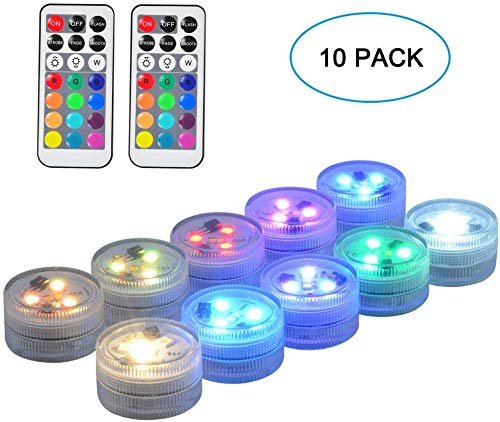Seed 10 Pack 1.5' Small Submersible LED Lights, Battery Operated LED Craft Tea Light with Remote for Pool Parties Hot Tub Fountains Halloween Lantern Wedding Centerpieces Vases Decorations