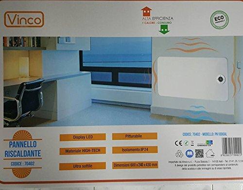 70402 VINCO PANNELLO RISCALDANTE DA PARETE E DA APPOGGIO PITTURABILE 1000W