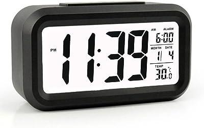Reloj Despertador LED Pantalla Grande Despertador Digital Reloj Despertador con Calendario Pantalla de Temperatura función Snooze