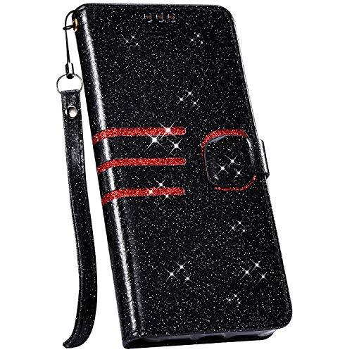Ysimee Hülle kompatibel mit Samsung Galaxy S7 Edge Schutzhülle mit Kartenfach und Ständer, Bling Glänzend Flip Tasche Lederhülle Wallet Brieftasche Klappbar Stoßfest Handyhülle/Schwarz