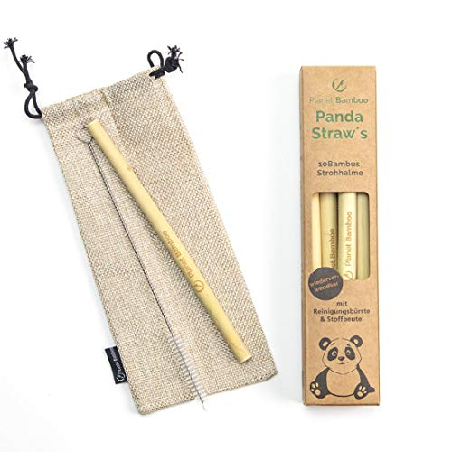 Pianeta Bamboo: cannucce di bambù (10 pezzi | 18 cm | extra spesso) incl. spazzola di pulizia e sacchetto in tessuto