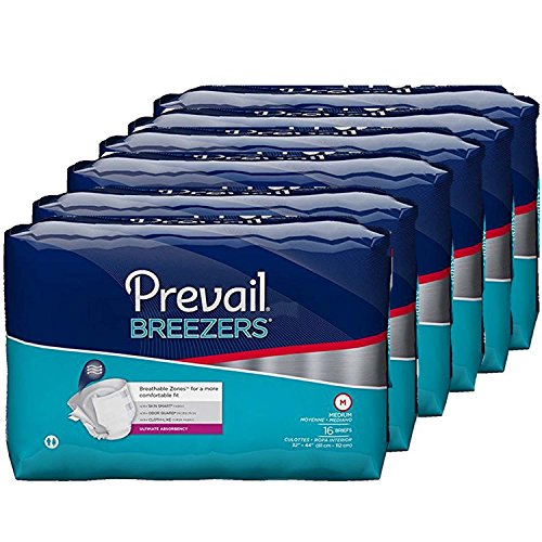 Prevail Breezers Ultimate Absorbency Incontinence Briefs, Medium, 96 Count
