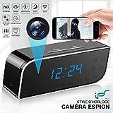 Caméra Espion,1080P Caméra Cachée WiFi Réveil Caméra de Surveillance de Vision Nocturne Nanny Mini Caméra Espion Détection de Mouvement Surveillance en Temps réel à la Maison ou au Bureau