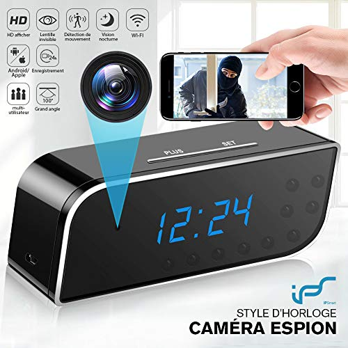 Caméra Espion,1080P Caméra Cachée WiFi Réveil Caméra de...
