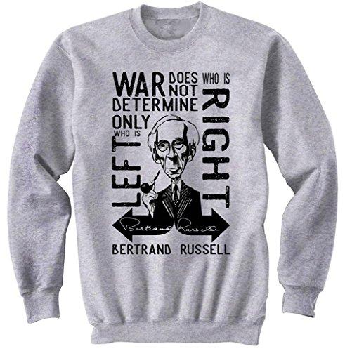 teesquare1st Men's Bertrand Russell War Quote Grey Sweatshirt Size XLarge