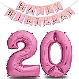 envami Globos de Cumpleãnos 20 Rosas - 101 CM Globo 20 Años + Happy Birthday Guirnalda - Globo Numero 20 - Decoracion 20 Cumpleaños Mujer - Globos Numeros Gigantes para Fiestas - Vuelan con Helio