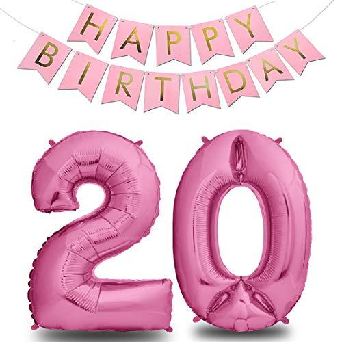 Palloncini Compleanno 20 Anni Rosa 101 CM I Palloncino Numero 20 + Happy Birthday Ghirlanda I Numeri Gonfiabili Compleanno I Decorazioni Compleanno I Palloncino 20 Anni Compleanno I Vola con l'Elio
