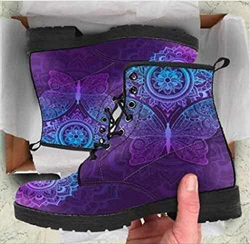 Printing Retrol Style Skull Martin Boots for Men and Women Witch Printed High Top Shoes Non Slip Combat Boots (D,42)