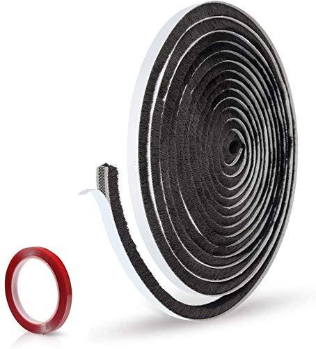 Eruibos Tira de Sellado, Burletes Puertas 5 M Junta de Cepillo Autoadhesiva Prueba de Polvo Puertas Cintas de Sellado para Puerta Ventana Antigolpes Resistente al Agua 9mm x 9mm(Negro)