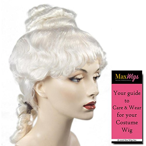 Bargain Colonial Lady Color WHITE - Lacey Wigs Style B314 Martha Washington Abigail Adams 18th Century Bundle with MaxWigs Costume Wig Care Guide