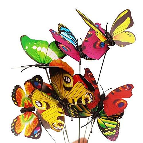 Caxmtu 20 pièces Plante Artificielle Papillon Piquet Jardin Patio pelouse extérieur Yard Art Decor