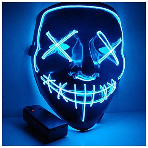 DHB Halloween Maske Led Leuchten Maske Für Halloween Festival Cosplay Halloween Kostüm Party Decoratio,Blue