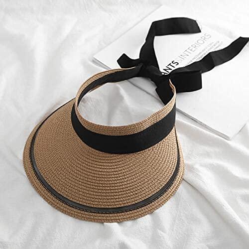 WXRJL Salida De Verano Protector Solar Sombrero De Paja Ocio Todo Fósforo Pequeño Sombrero De Paja Fresco Mujer Motociclista Sombrilla Sombrero De Copa Vacío Ajustable Caqui