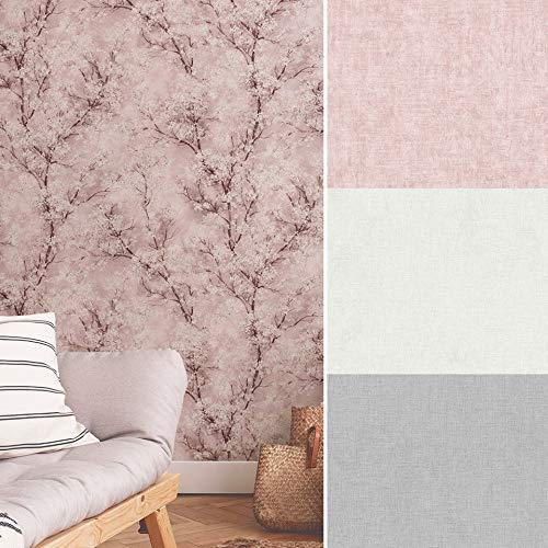Kirschblüten ZUHAUSE Vliestapete Blüten Tapete Wohnzimmer Wellness Wand Vlies Tapeten Vintage Kirschen Grau Rosa Beige Fototapete (10,05 m x 0,53 m, Struktur Rosa)