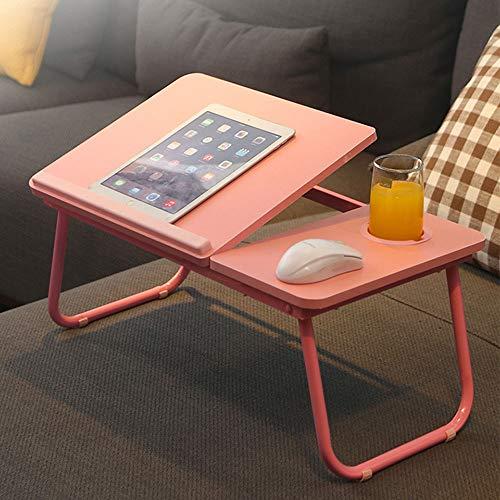 Mesa de escritorio para ordenador portátil, ajustable, portátil, bandeja de desayuno, mesa multifuncional con tapa inclinable, tarea, estudio, lectura, comer, comida (rosa)