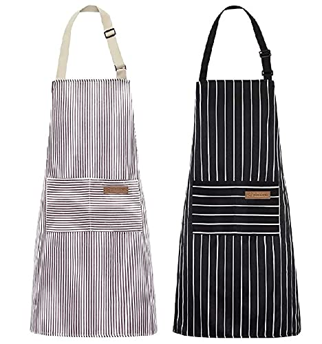 2 Pack Kitchen Cooking Aprons, Soft Waterproof Adjustable Bib Chef Apron Durable with 2 Pockets Aprons for Men Women Black & White Cotton Linen Stripes…