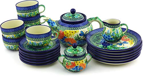 Check Out This Polish Pottery Dessert Set for 6 with Heater 40 oz Garden Delight UNIKAT