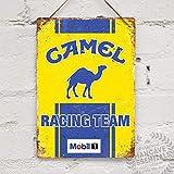 Toll2452 Cartel de metal con texto 'Camel Racing', estilo vintage, retro, para cochera y cobertizo de cochera, 19 x 38...