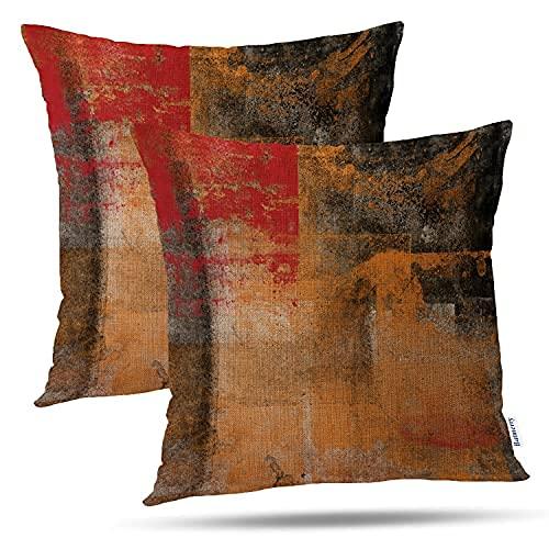 Juego de 20 x 50 cm, color negro y naranja, juego de 2 unidades, estilo retro, abstracto, amarillo, negro, lino, cuadrado, fundas de almohada decorativas para sofá
