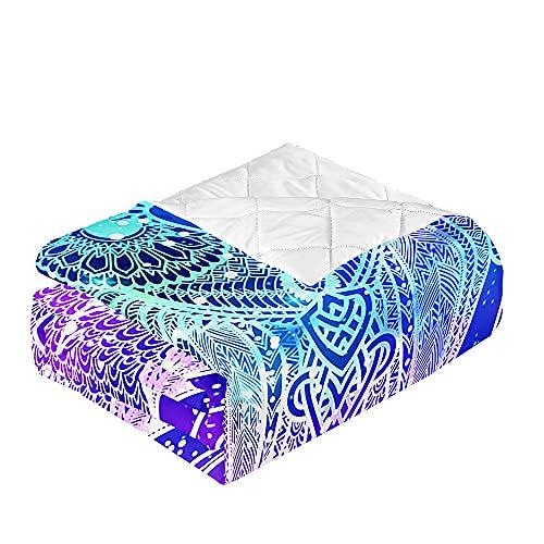 Oduo Colcha Bouti Cama de Verano, Microfibra Cubrecama Multiusos Suave para Cama de Matrimonio, Lavable Acolchada Edredón Ligero Manta para Todas Las Estaciones (Hojas de Estrella,230x260cm)