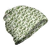 ABAKUHAUS Tropical Gorro Unisex, Palma y Hojas de plátano, Tela Suave 100% Microfibra Estampada Ideal para Actividades al Aire Libre, Verde del Pavo Real